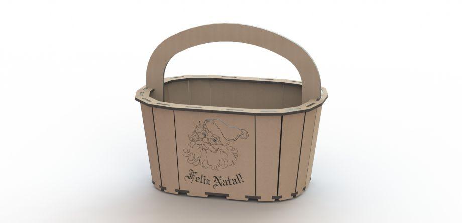 Подарочная корзинка новогодняя с дедом морозом