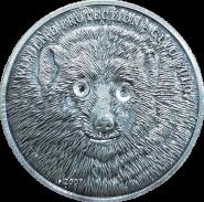 500 тугриков 2014 Монголия РОСОМАХА серебрение. Копия Красная книга цветные глаза