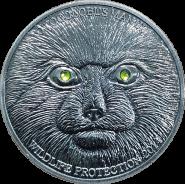 500 тугриков 2014 Монголия МАНУЛ серебрение. Копия Красная книга цветные глаза