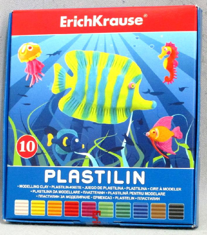Пластилин 10 цветов 180 гр, со стеком