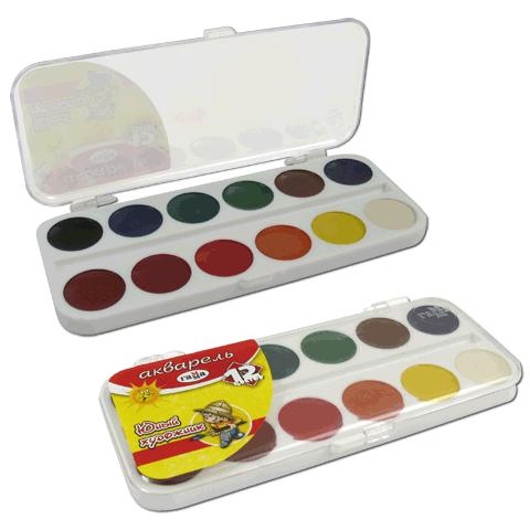 Краски акварельные 12 цвета ГАММА  Юный художник  пластиковая упаковка