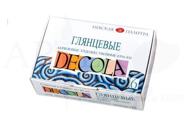 Краски акрил 06цв по 20мл глянцевые карт упак DECOLA