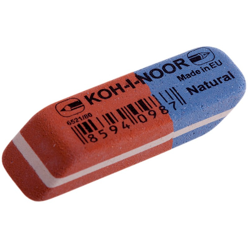 Ластик KOH-I-NOOR BLUE STAR 6521/80 каучук 41x14x8 мм красно-синий комбин. скошенный