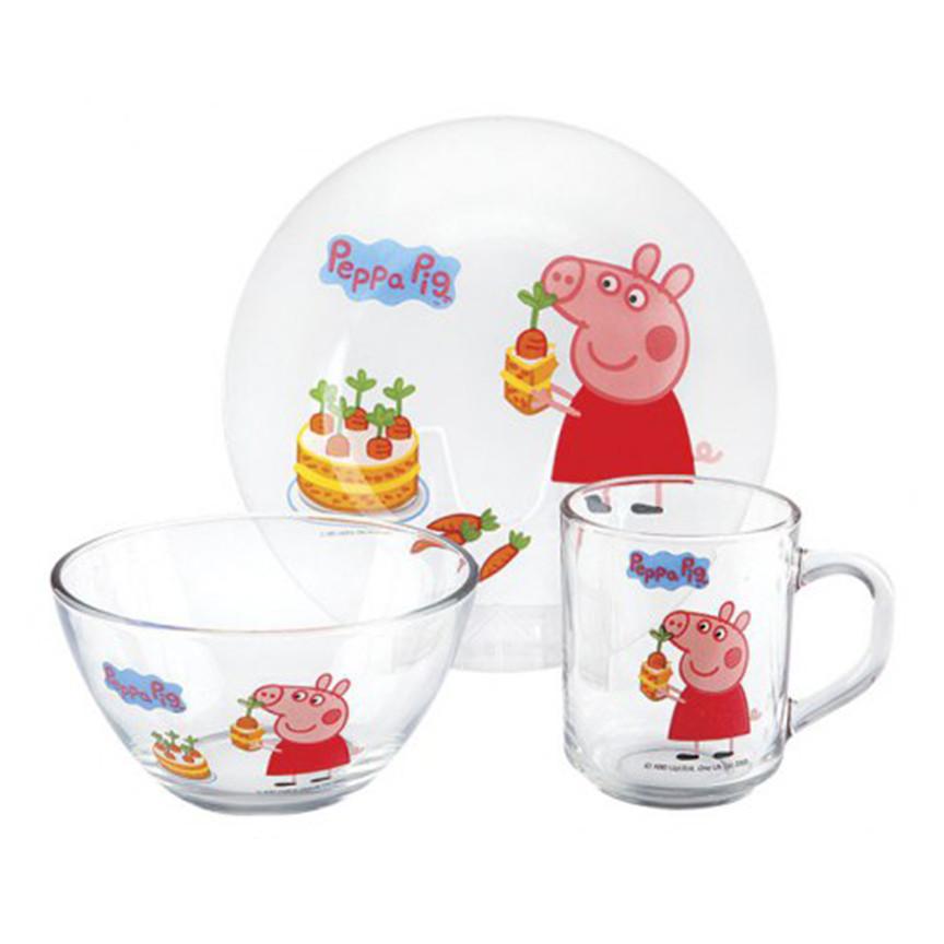 Набор детской посуды 3 предмета Свинка Пеппа морковка