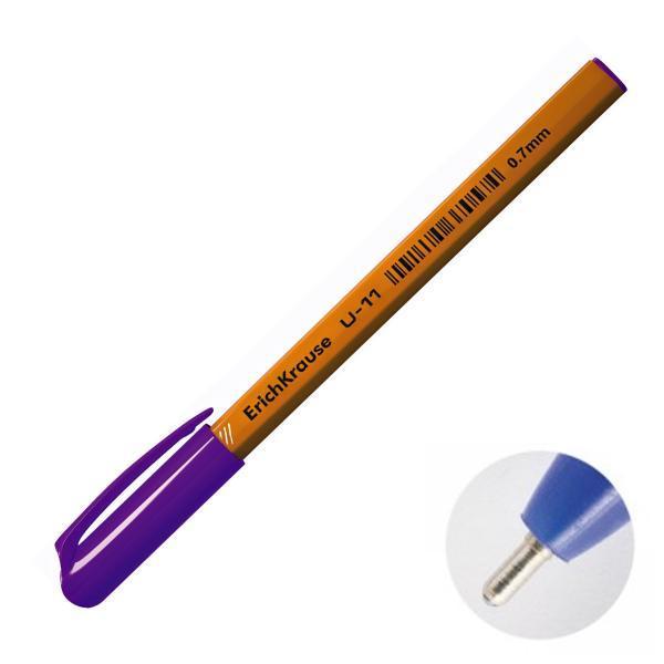 """Ручка """"U-11"""" черная 0,7мм/иг корпус трехгранный желтый ERICH KRAUSE"""