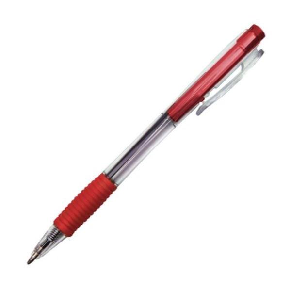 Ручка автомат красная 1.0/110мм корпус прозрачный рез.грип