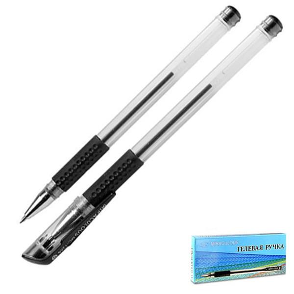 """Ручка гелевая """"BASIR"""" черная 0.5/129мм корпус прозрачный рез.грип MIRACULOUS"""