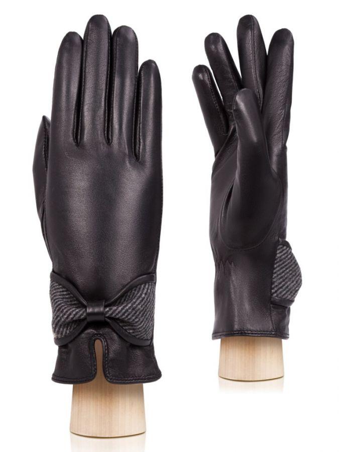 Кожаные перчатки с бантом LABBRA