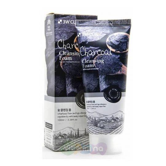 3W CLINIC Глубокоочищающая пенка для сужения пор Charcoal Cleansing Foam, 100 мл