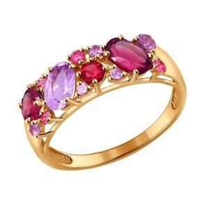 Кольцо из золота с полудрагоценными вставками 714175 SOKOLOV