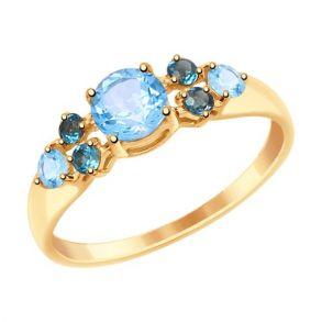 Кольцо из золота с голубыми и синими топазами 714995 SOKOLOV