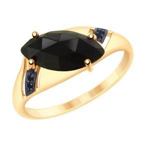 Кольцо из золота с чёрным агатом и фианитами 715204 SOKOLOV