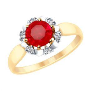 Кольцо из золота с красным корундом (синт.) и фианитами 715299 SOKOLOV