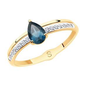 Кольцо из золота с синим топазом и фианитами 715584 SOKOLOV