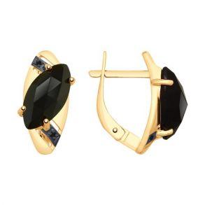 Серьги из золота с чёрными агатами и фианитами 725522 SOKOLOV