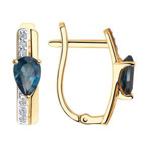 Серьги из золота с синими топазами и фианитами 725966 SOKOLOV