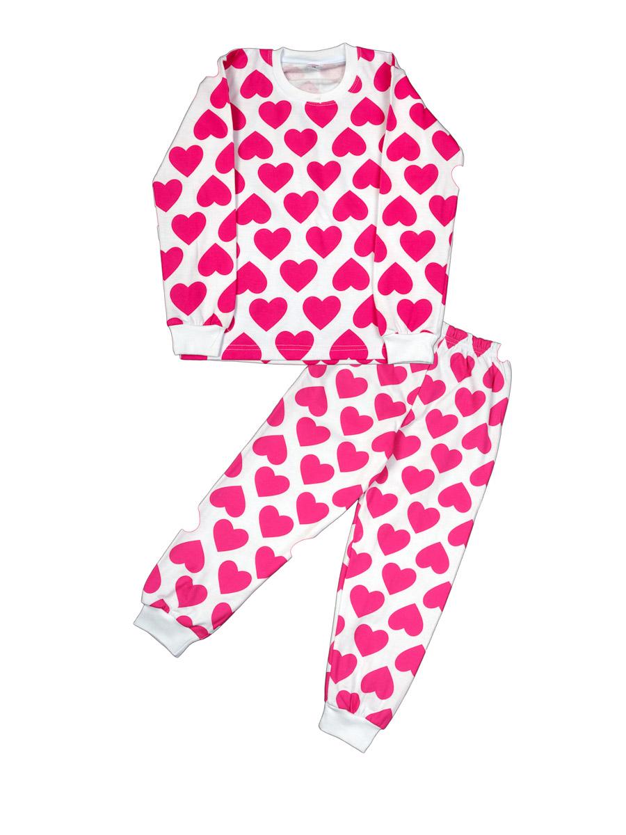 6182584f70b5 Детская пижама из белого трикотажа с набивным рисунком малиновых ...