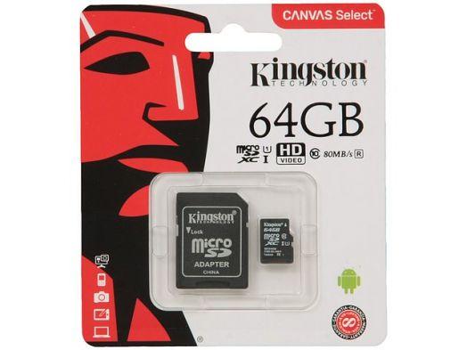 Карта памяти microSD 64 Gb Kingston Class10 UHS-I Canvas Select up to 80MB/s (с адаптером)