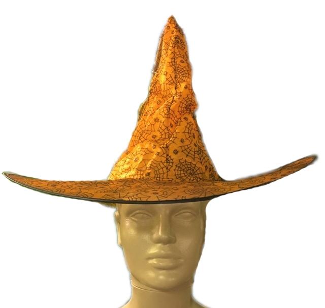 Шляпа ведьмы оранжевая с паутиной