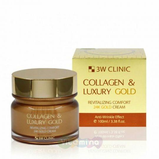 3W CLINIC Омолаживающий крем для лица с коллагеном и коллоидным золотом  Collagen & Luxury Gold Cream, 100 гр