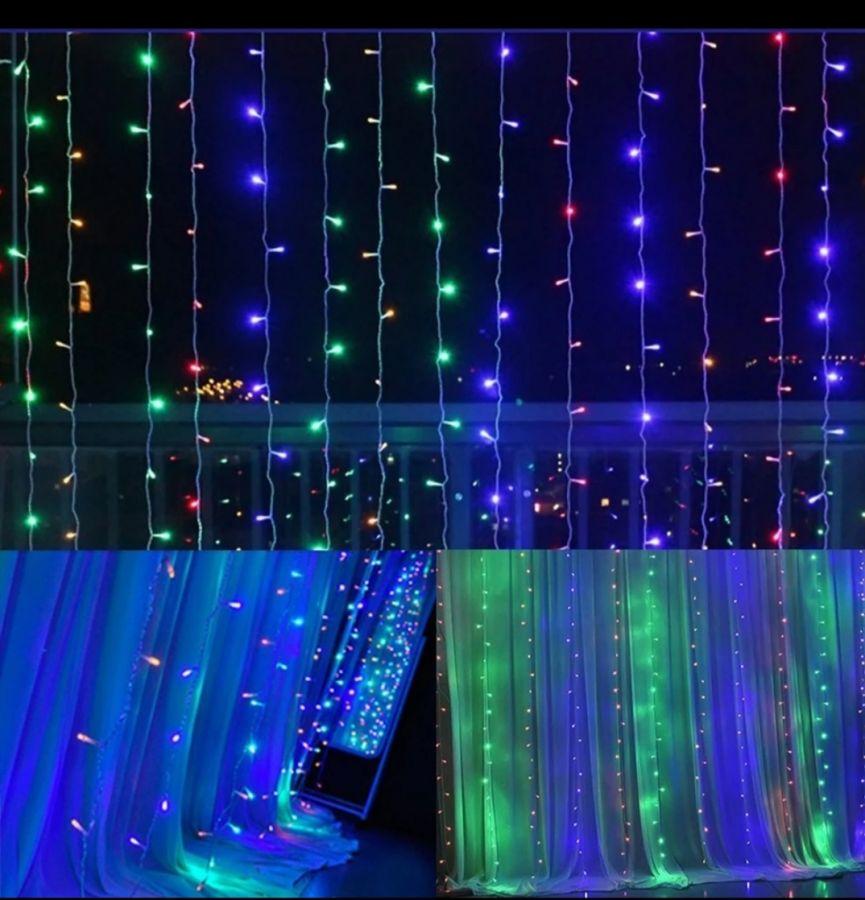 "Гирлянда ""Дождь"", разноцветная, размер 2х2 метра с небьющимися лампами"