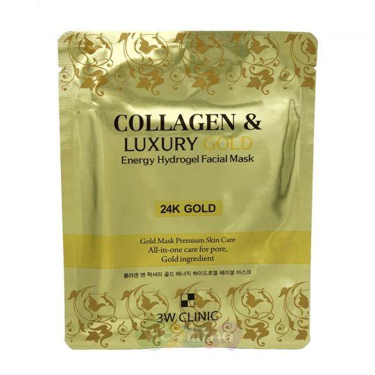 3W CLINIC Гидрогелевая маска для лица с золотом Collagen & Luxury Gold Energy Hydrogel Facial Mask, 30 гр