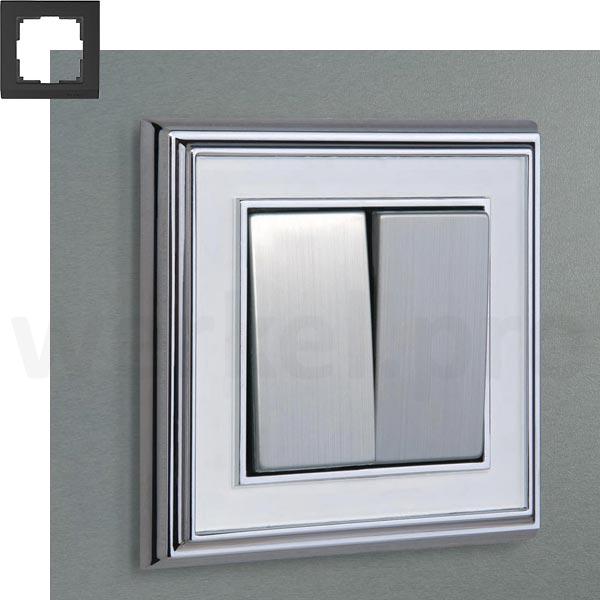 Рамка на 1 пост WL17-Frame-01 хром / белый
