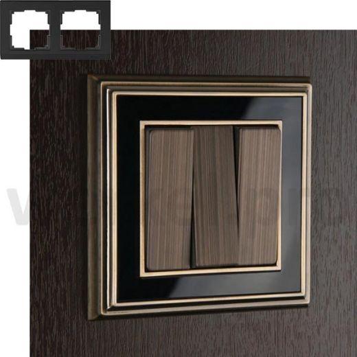 Рамка на 2 пост WL17-Frame-02 бронза / черный