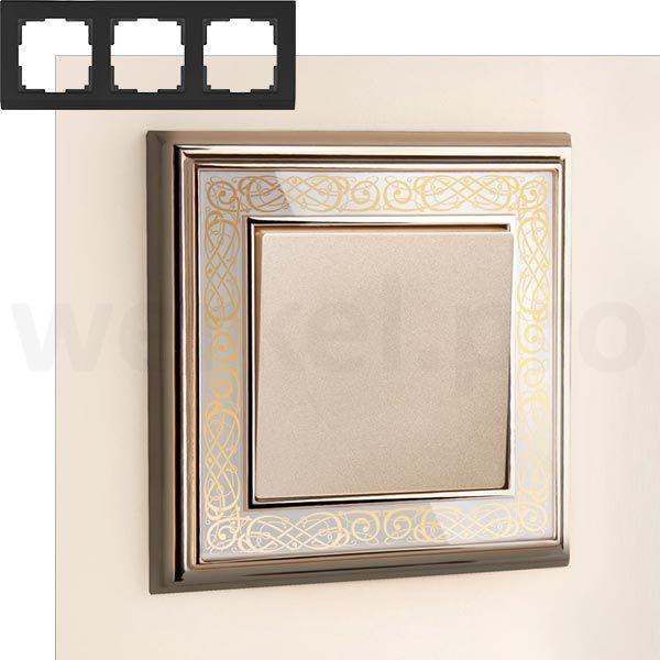 Рамка на 3 пост WL77-Frame-03 Золото/белый