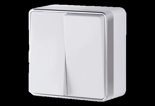 Выключатель двухклавишный WL15-03-01 белый