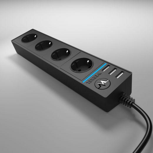 Розеточный блок 4-х местный + 3 USB WL20-04-03 черный