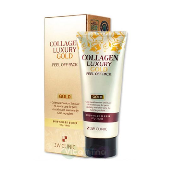 3W CLINIC Золотая маска-плёнка с коллагеном Collagen Luxury Gold Peel Off Pack, 100 гр