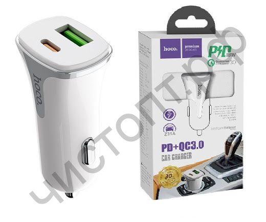 АЗУ с USB выходом HOCO, Z31A, Colossus, 3000mA, + выход TYPE-C пластик, быстрый заряд QC3.0, цвет: белый