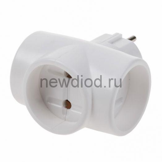 Евротройник электрический без заземления  220 В 6-10 A REXANT индивидуальный пакет