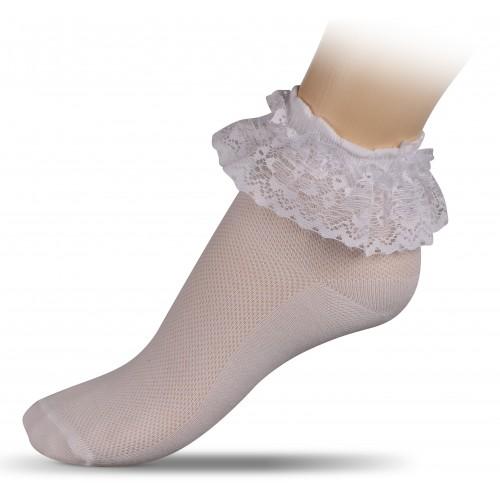Носки для гимнастики и танцев с кружевом INDIGO А13ж белые
