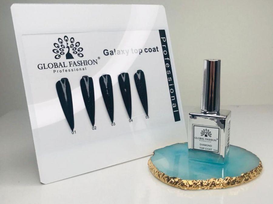 Топ с шиммером GALAXY TOP COAT 04 Global Fashion 15мл. Серебряный флакон.