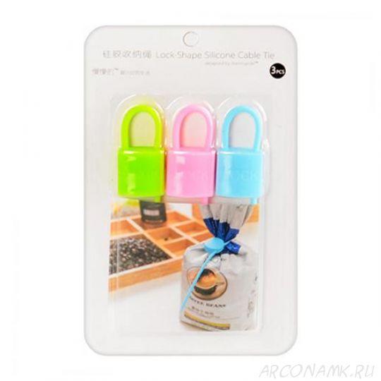 Силиконовый хомут Lock-Shape Silicone Cable Tie , 3 шт., Форма: Квадрат