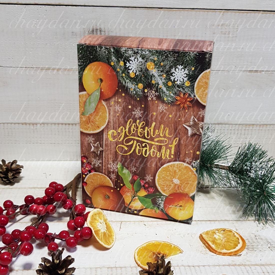 """Коробка с медом и чаем """"Новогодние мандарины"""""""