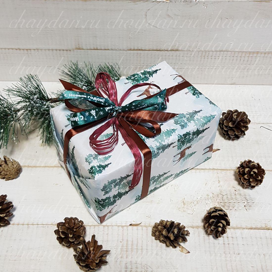 """Коробка с чаем и сладостями """"Зимний лес"""""""