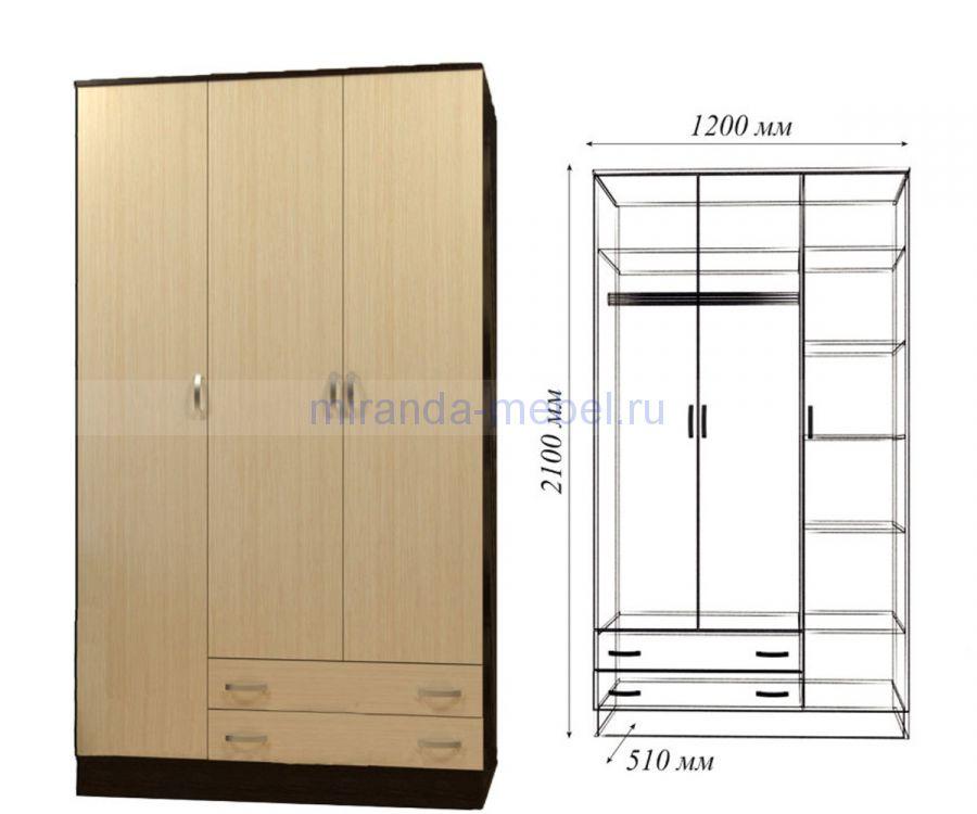 Шкаф 3х створчатый с ящиками