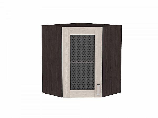 Шкаф верхний угловой Лофт ВУ599 со стеклом (Cappuccino Veralinga)