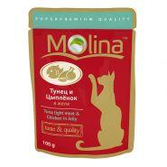 Molina Влажный корм для кошек Тунец с цыпленком  в желе, 100г