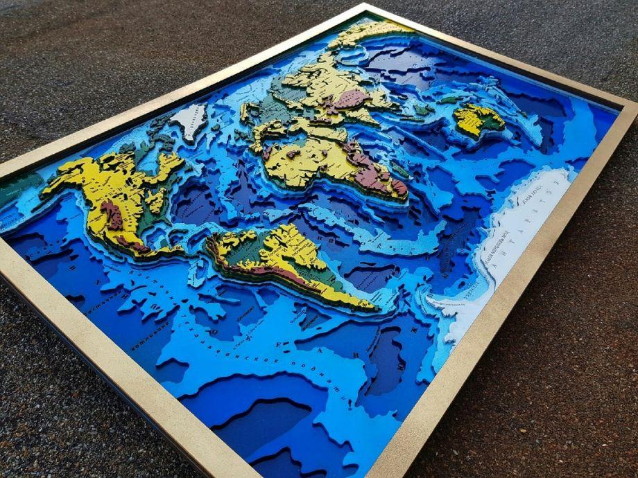 Карта мира 3д биометрическая
