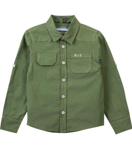 Рубашка для мальчика Bonito Jeans 7-10 лет хаки, поплиновая