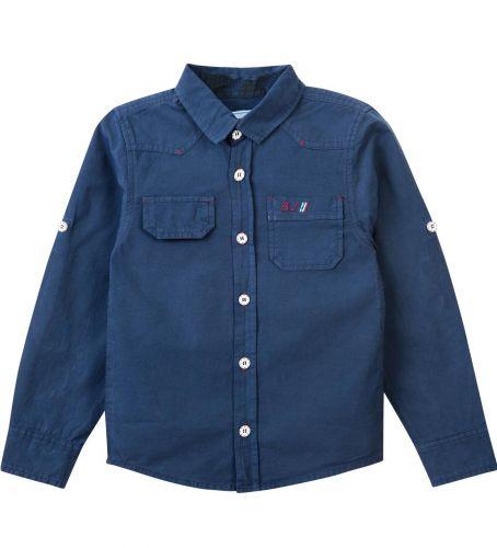 Рубашка для мальчика Bonito Jeans 7-10 лет темно-синяя, поплиновая
