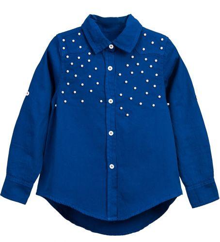 Блузка для девочки Bonito kids 7-10 лет синяя, сатиновая