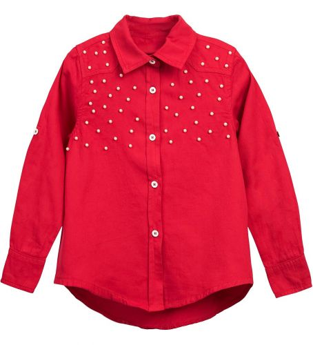 Блузка для девочки Bonito kids 7-10 лет красная, сатиновая