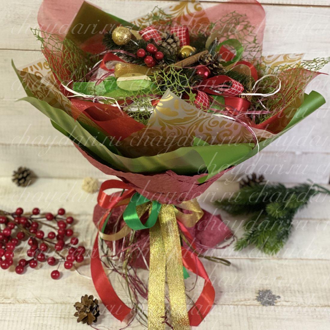 """Букет из чая и сладостей """"Новогодняя роскошь"""""""