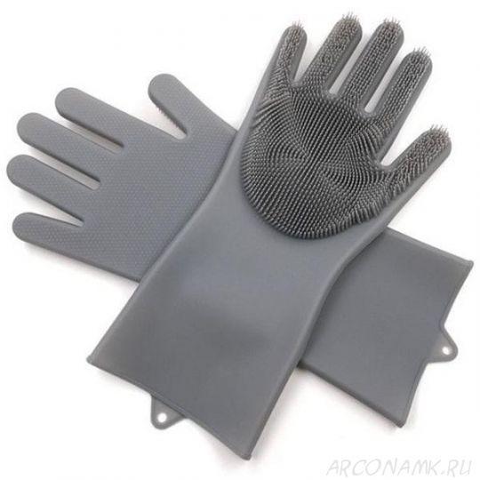 Многофункциональные силиконовые перчатки Magic Brush, 2 шт., Цвет: Серый