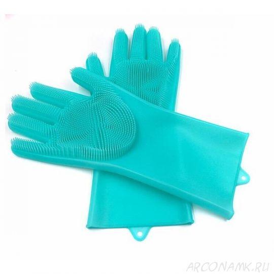 Многофункциональные силиконовые перчатки Magic Brush, 2 шт., Цвет: Бирюзовый